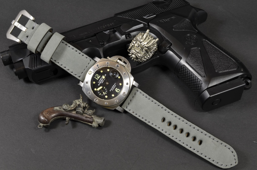 GRAY I is one of our hand crafted watch straps. Available in grey color, 4 - 4.5 mm thick.