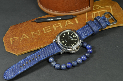 DENIM 3 is one of our hand crafted watch straps. Available in jeansblue color, 4 - 4.5 mm thick.