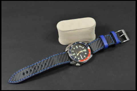 BLUE is one of our hand crafted watch straps. Available in blue color, 3 - 3.5 mm thick.