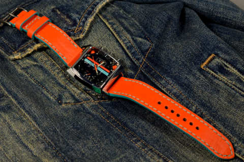 ORANGE is one of our hand crafted watch straps. Available in gulf orange color, 3 - 3.5 mm thick.